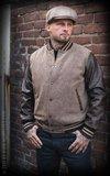 Baseball Jacket Monterey - Herringbone beige/brown_