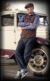 Vintage Vest Boston - Herringbone brown/blue_