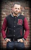 Male Sweat College Jacket - black/bordeaux_