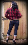 Checked College Jacket with teddy-bear cloth, red/black_