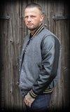 Baseball Jacket Monterey - Herringbone grey/black_