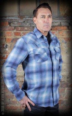 Flannel Shadow Plaid Shirt blue