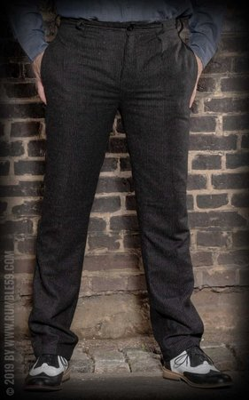 Vintage Slim Fit Pants Pasadena - striped black/grey