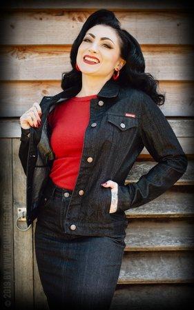 Ladies Denim Jacket - black