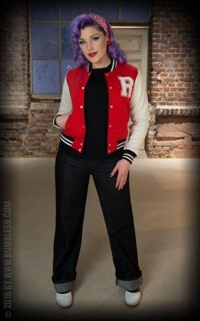 Ladies Sweat College Jacket - red