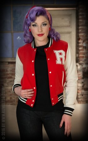 Ladies Sweat College Jacket - red