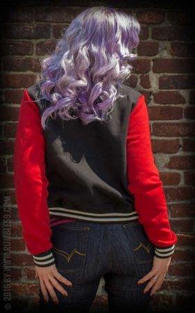 Ladies Sweat College Jacket - black/red