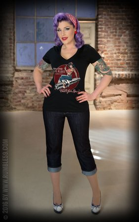Ladies V-Neck Shirt Hotrod Betty's Spark Plugs