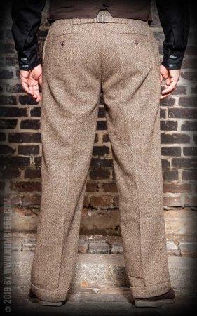 Vintage Loose Fit Pants Sacramento - Herringbone beige/brown