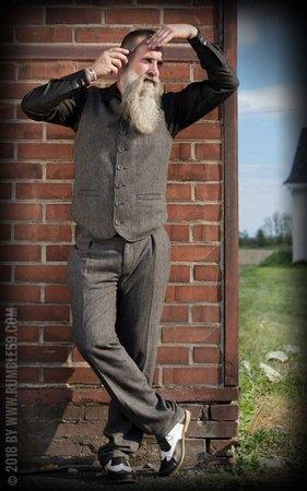 Vintage Slim Fit Pants Pasadena - Herringbone grey/black
