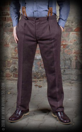 Vintage Slim Fit Pants Pasadena - Herringbone brown/blue