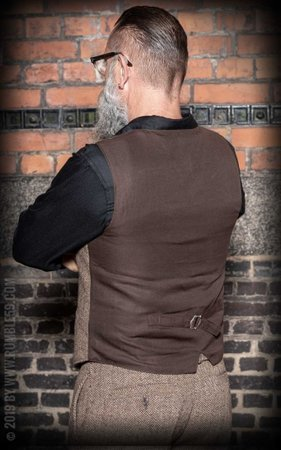 Vintage Vest Atlantic City - Herringbone beige/brown