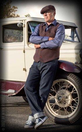 Vintage Vest Boston - Herringbone brown/blue