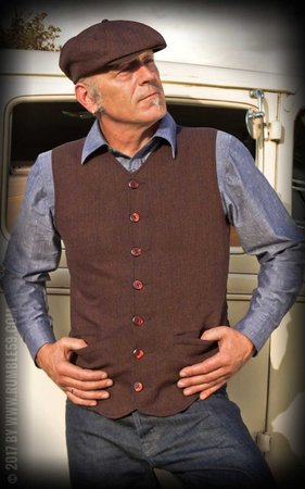 Vintage Vest Atlantic City - Herringbone brown/blue