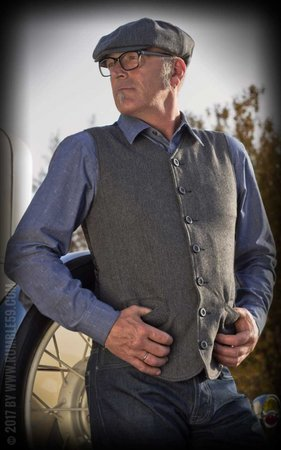 Vintage Vest Atlantic City - Herringbone grey/black