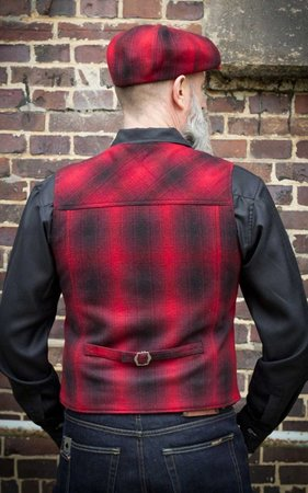Vintage Vest Boston - plaid red/black