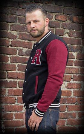 Male Sweat College Jacket - black/bordeaux