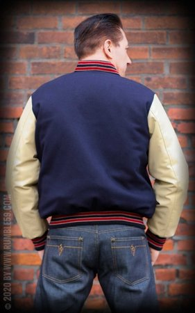 Baseball Jacket - blue/beige