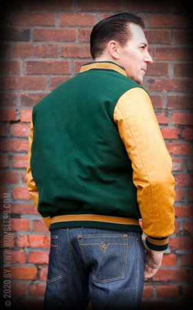 Baseball Jacket - green/mustard