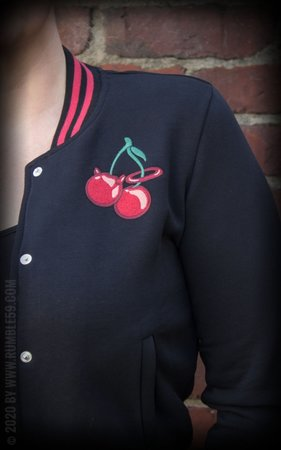 Ladies Sweat College Jacket - Cherry Bomb