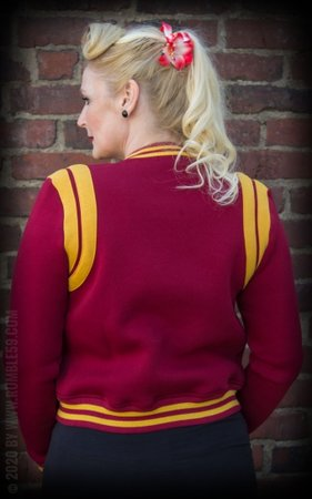 Ladies Sweat College Jacket - bordeaux/mustard