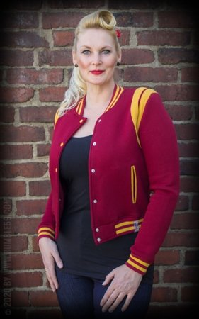Ladies Sweat College Jacket - bordeaux/mustard