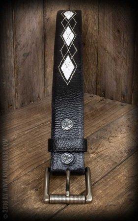 Leather Belt Diamond - black/offwhite