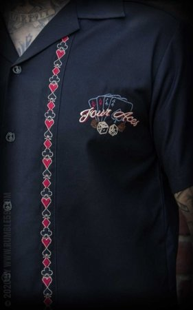 Lounge Shirt Four Aces - black