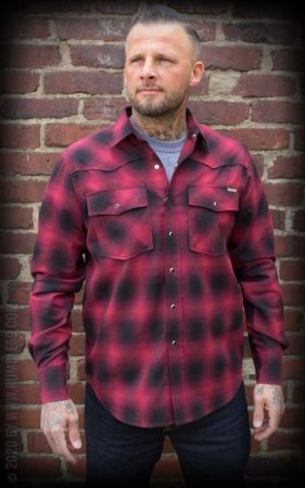 Shadow Plaid Shirt, red/black