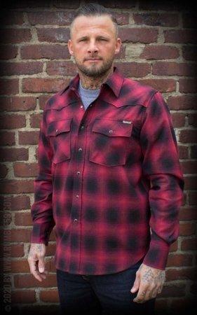 Shadow Plaid Shirt, red/black