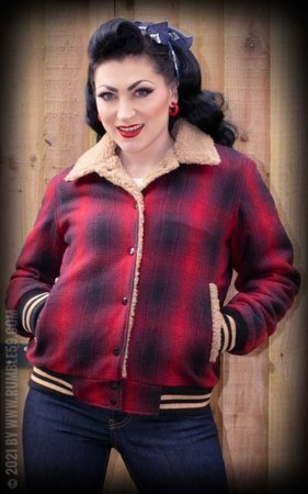 Checked College Jacket with teddy-bear cloth, red/black