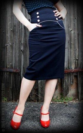 High Waisted Pencil Skirt Ahoi Sailor!