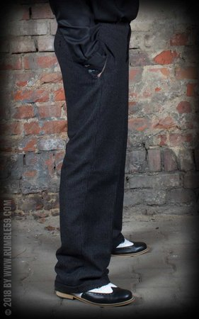 Vintage Loose Fit Pants Sacramento - striped black/grey