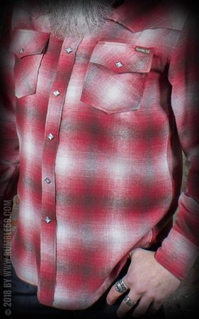 Flannel Shadow Plaid Shirt rood
