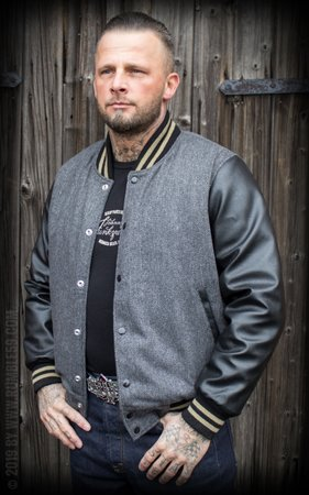 Baseball Jacket Monterey - Herringbone grey/black