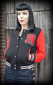 Ladies Sweat College Jacket - black/red