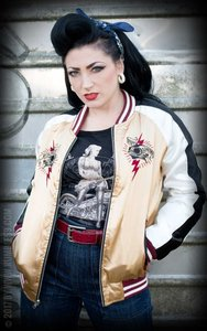 Souvenir Jacket | 2-in-1 Satin Bomber Jacket Hell's Belles