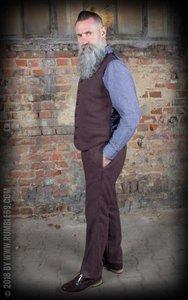 Vintage Slim Fit Pants Pasadena - Herringbone brown/blue