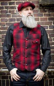 Vintage Vest Boston - plaid red/black