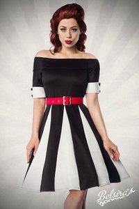 Belsira Godet Jurk zwart/wit met rode riem
