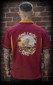 Bowling Shirt Hang loose, Surf's up - bordeaux
