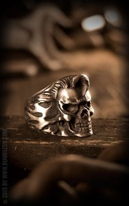 Stainless Steel Ring Rockabilly Skull