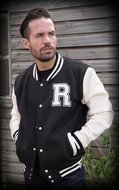 Male Sweat College Jacket Black