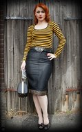 Perfect Denim Pencil Skirt - black